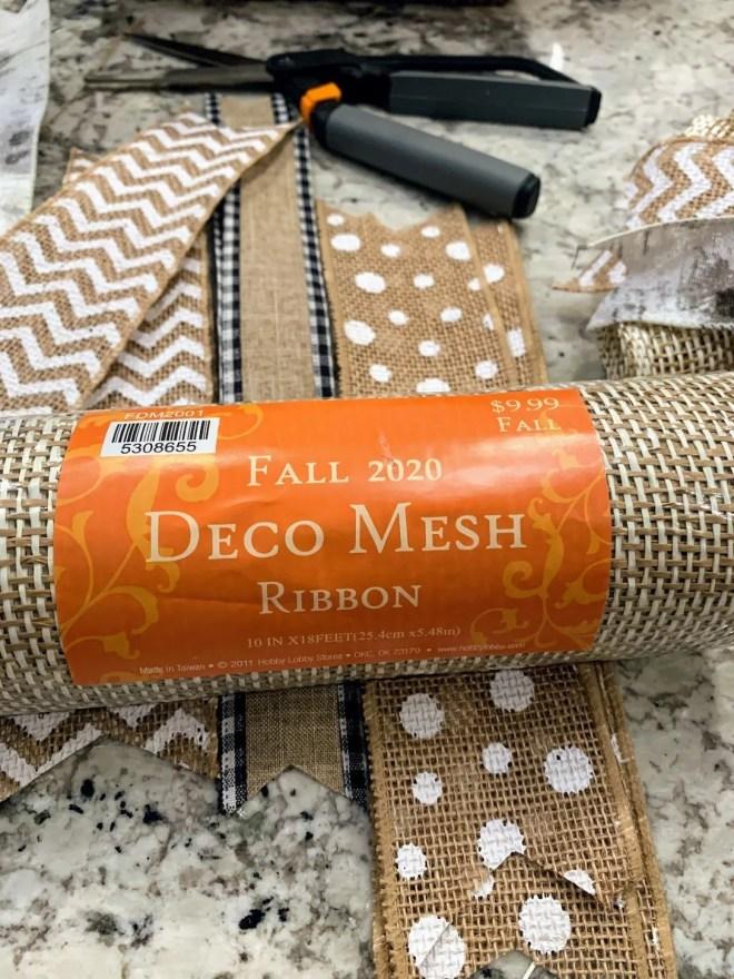Deco Mesh for DIY Burlap & Ribbon Wreath