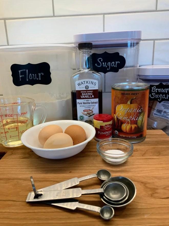 Ingredients for Pumpkin Cheesecake Swirl Muffins