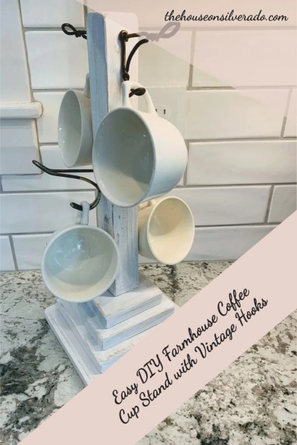 Easy DIY Farmhouse Coffee Cup Stand with Vintage Hooks