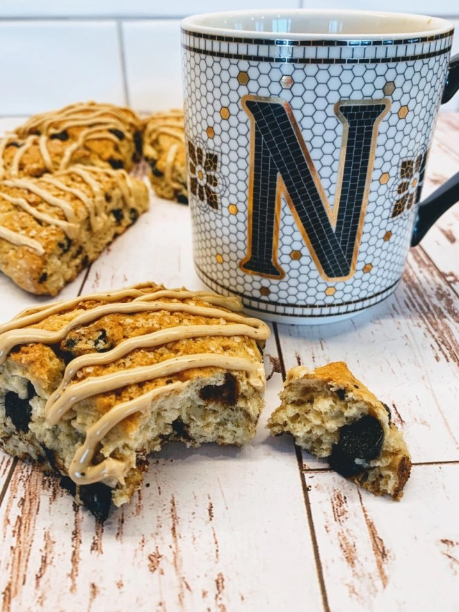 Chocolate Chip Espresso Scones with Espresso Glaze are the perfect texture for scones and filled with bits of chocolate.