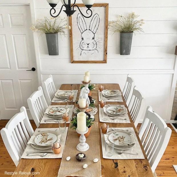 Sundays on Silverado #35 feature of a neutral farmhouse Easter table.