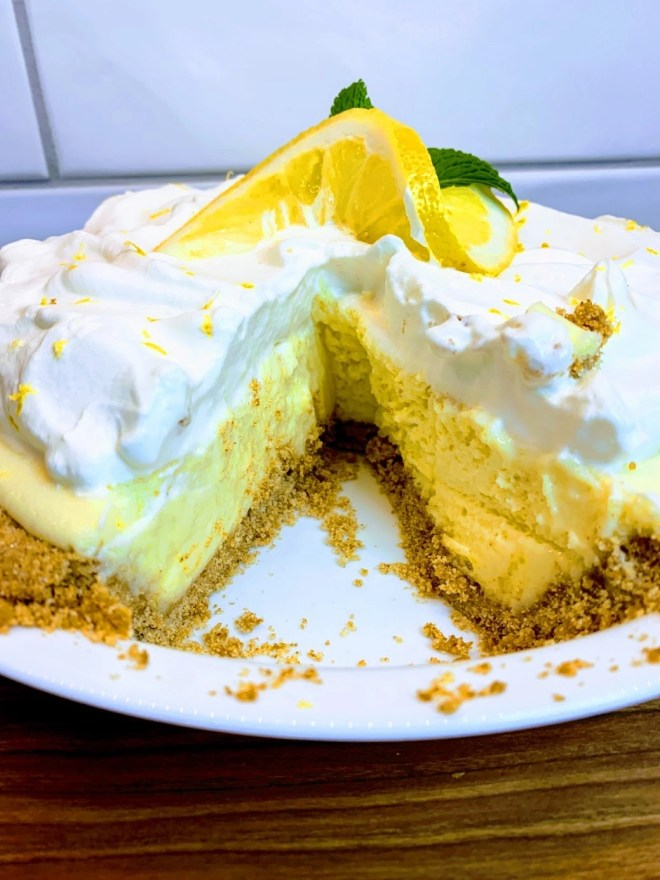 Magnolia Lemon Pie with a slice missing.