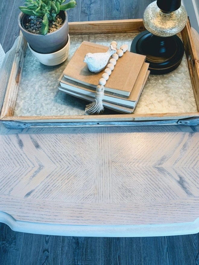 End Table Makeover with Milk Paint and Stain the top pattern.