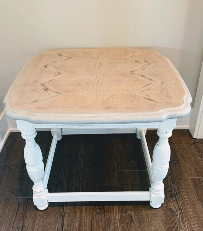 End Table Makeover with Milk Paint and Stain finished.