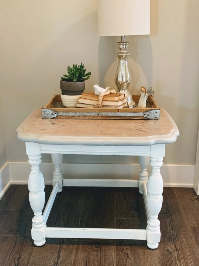 End Table Makeover with Milk Paint and Stain decorated.