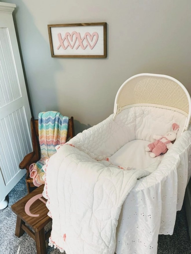 Baby corner for Guest Bedroom Makeover Using Family Keepsakes