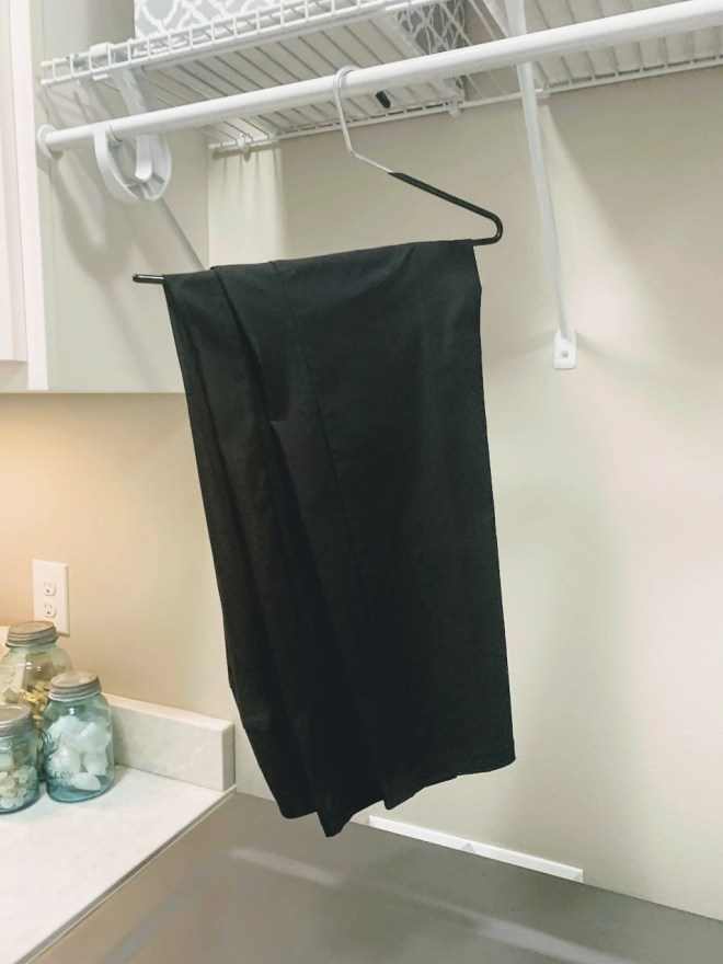 Pants hangers for laundry ease.
