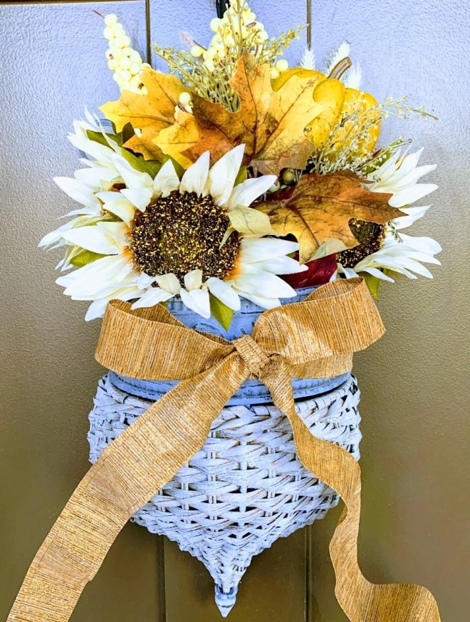 DIY Front Door Basket wreat with floral foam, faux flowers and ribbon makes pretty door decor for any season: spring, summer, winter or FALL.