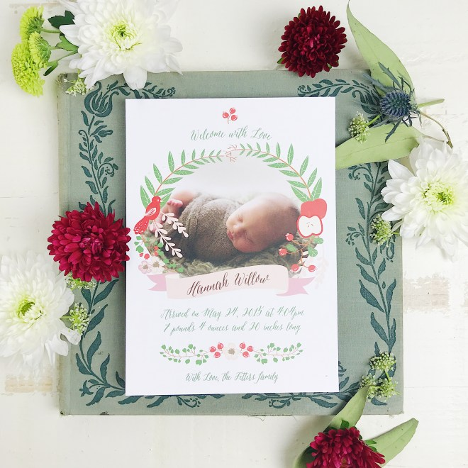 Birth announcement from Basic Invites