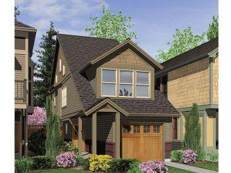 plans lot sims narrow homes plan houses zero line floor lots bungalow story 034h single cute tiny craftsman thehouseplanshop mini