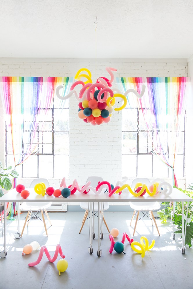 And Here S Our Version Balloon Chandelier For A Party