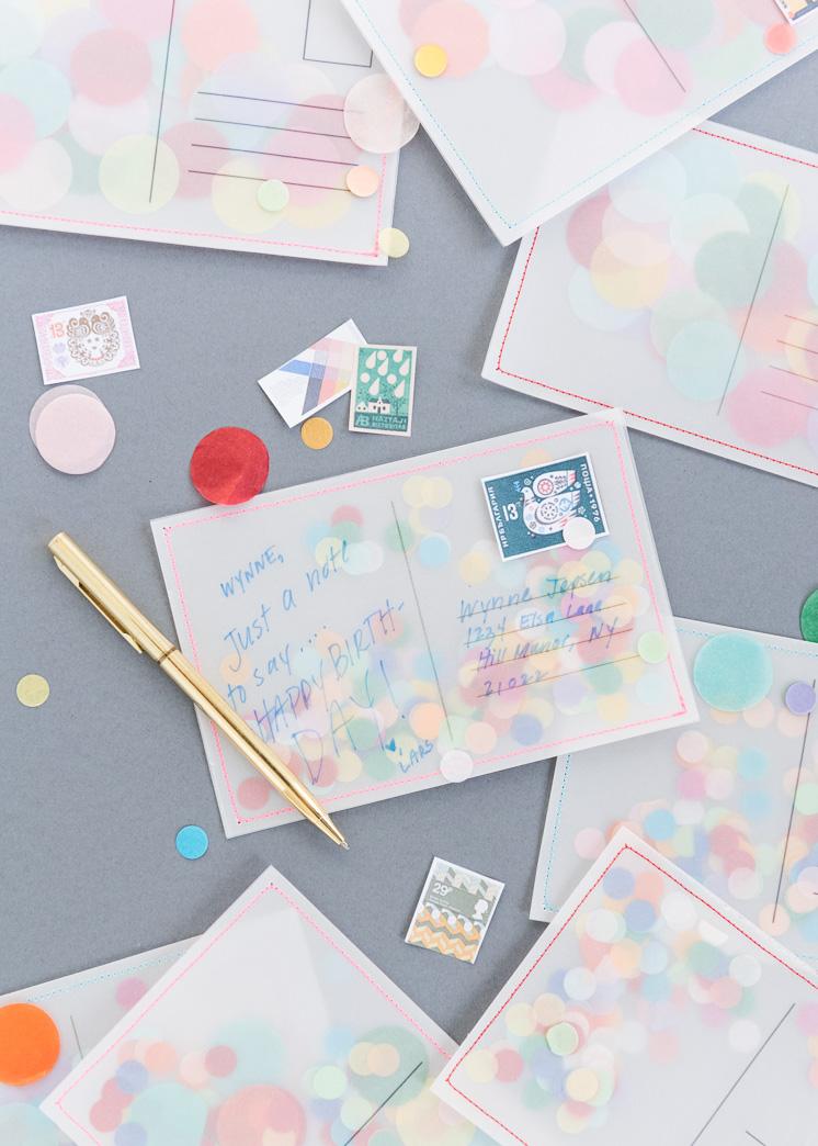 diy confetti postcard the