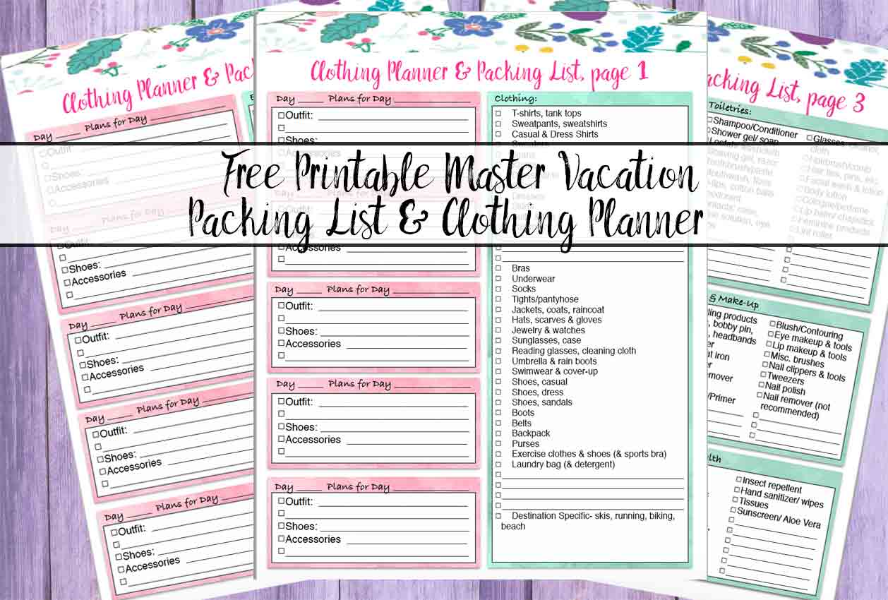 Free Printable Master Vacation Packing List Amp Clothing Planner