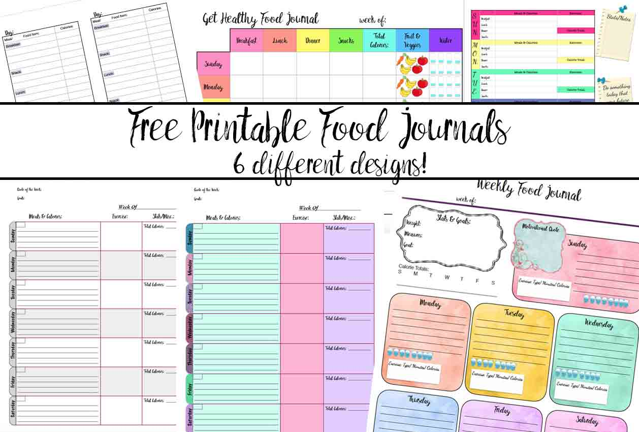 Free Printable Food Journal 6 Different Designs