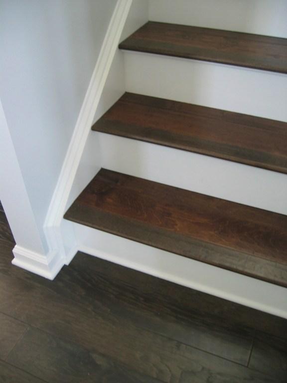 Installing Engineered Hardwood On Stairs – The How To Home   Installing Hardwood On Stairs   Tile Riser White Landing Tread   Combined Wood   Brazilian Cherry Hardwood Stair   Cream Wood   Bottom Stair