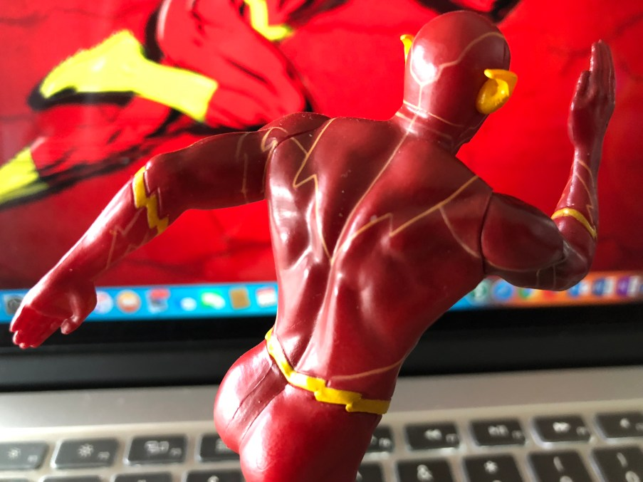 "Rear View of ""The Flash"" figurine."