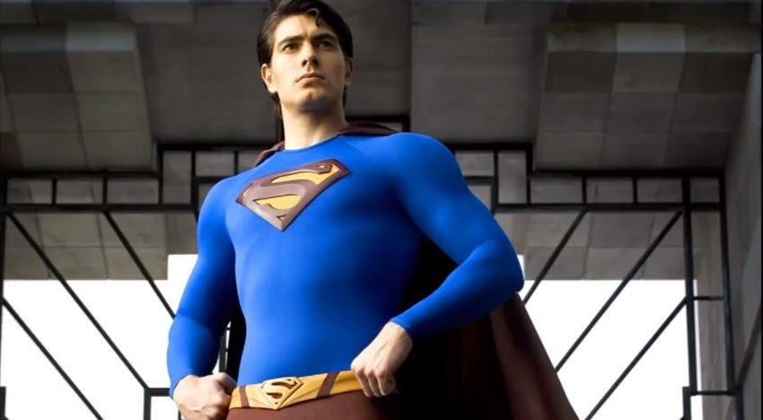 "Routh as he appeared in 2006's ""Superman Returns"", reprising the role in 2019 for The CW's epic ""Crisis on Infinite Earths"" crossover."
