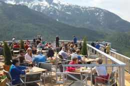 Summit Lodge Restaurant's patio offers dinner with a view. (Photo by Paul Bride.)