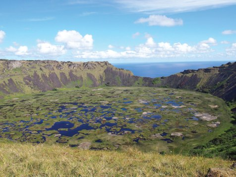 The Rano Kau volcano crater lake at the south end of the island is one of only three fresh bodies of water on Rapa Nui.