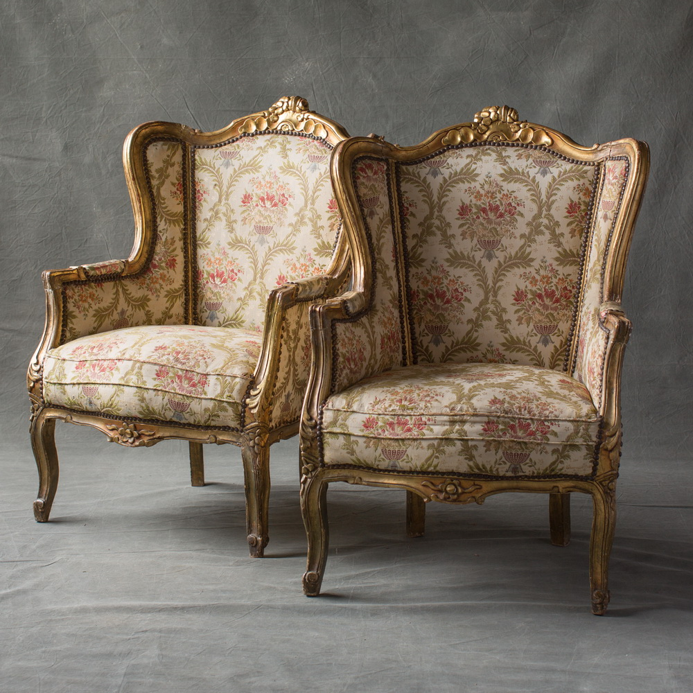 french bergere chair yoga certification florida pair of gilt chairs 2 the hudson merchantile carved and winged in louis xv taste