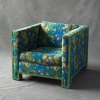Cube Chair with Jack Larsen velvet fabric  The Hudson ...