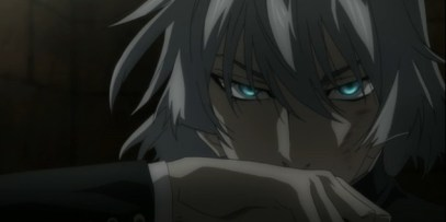 Kyosuke's eyes turn a silvery green.