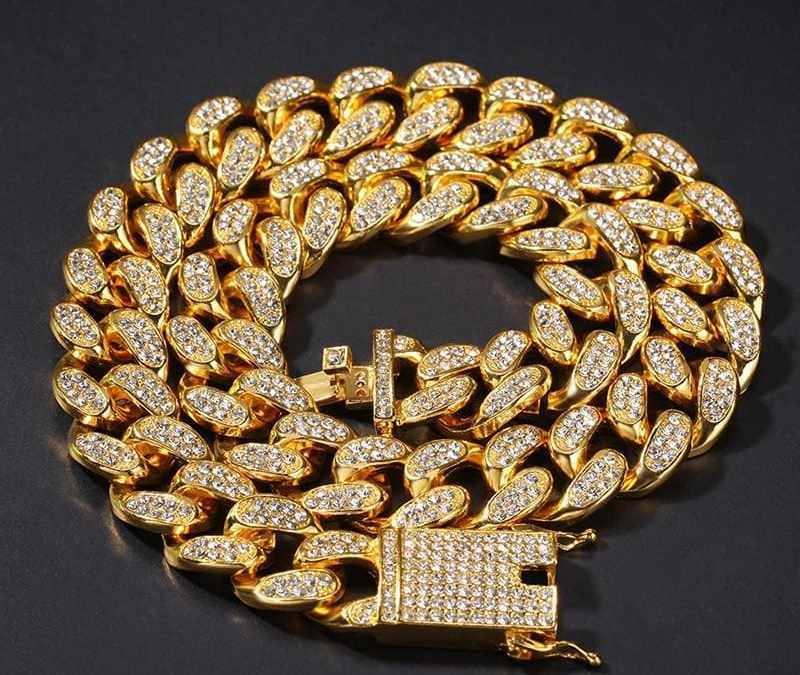 D&Z 20mm Iced Out Cuban Necklace Chain Hip hop Jewelry Choker Gold Silver Color Rhinestone CZ Clasp for Mens Rapper Necklaces Li