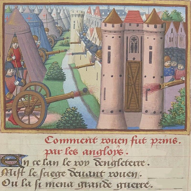 Siège de Rouen (1418-1419). Miniature du manuscrit de Martial d'Auvergne, Les Vigiles de Charles VII, vers 1484, BnF, Manuscrit Français 5054, folio 19 verso