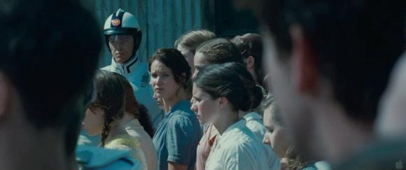 Movie Still: Katniss at The Reaping