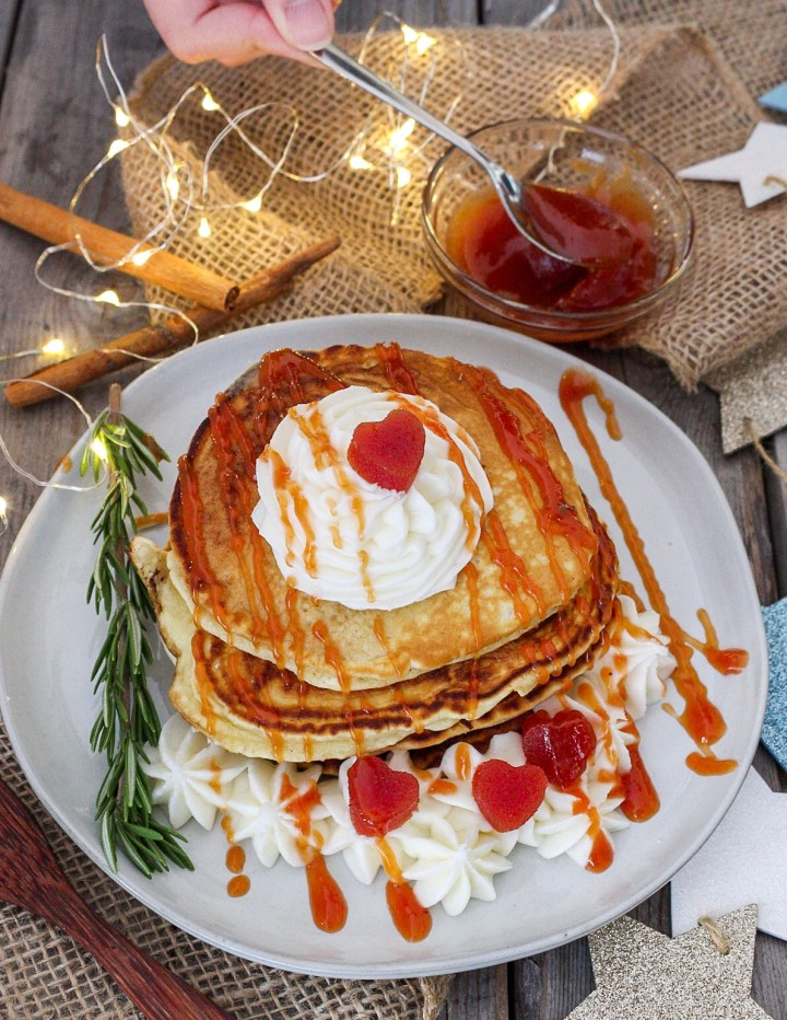 Guava Cream Cheese Pancakes Topped with Cream Cheese Buttercream