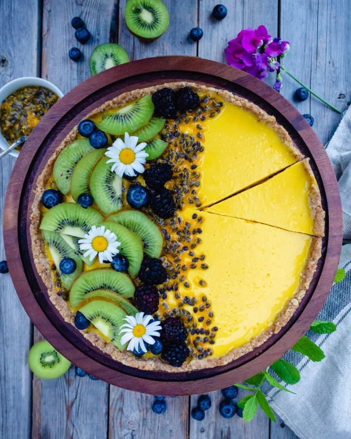 Passion Fruit Coconut Tart (Vegan, Gluten-Free & Refined Sugar Free)