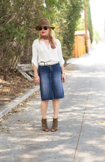 Denim Skirt Fedora And Ankle Boots Hunter Collector