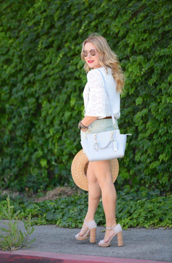 Lace Shorts Boater Hat Platform Heels. Hunter