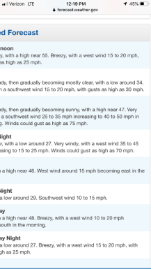 Weather report for Mt. Whitney