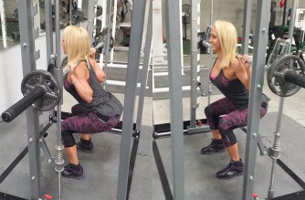woman doing smith machine squat