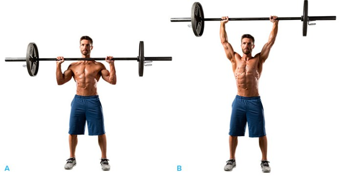 athlete man doing military press shoulder exercise