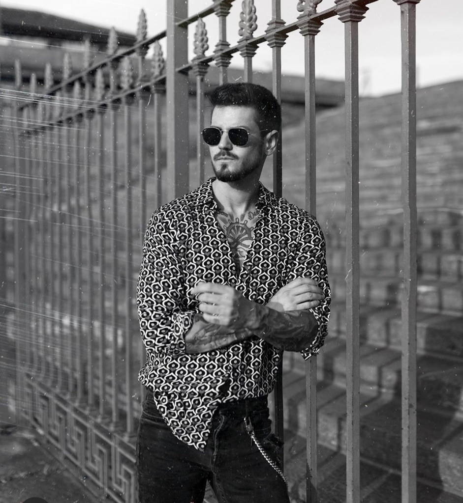 handsome man pattern shirt and sunglasses