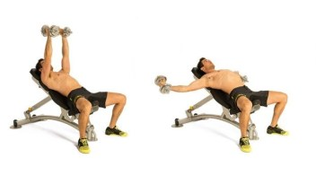 man doing low incline dumbbell press