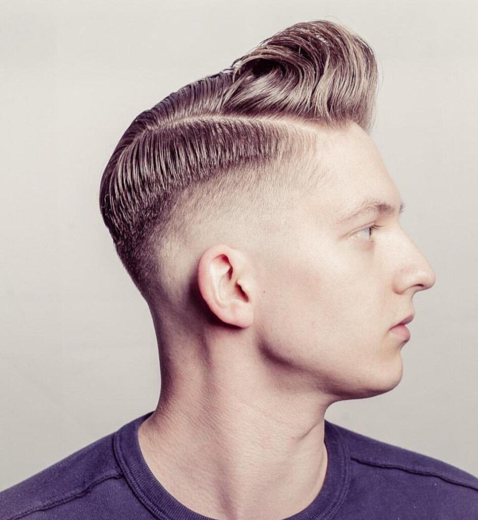Fine Hard Part With High Fade Haircut