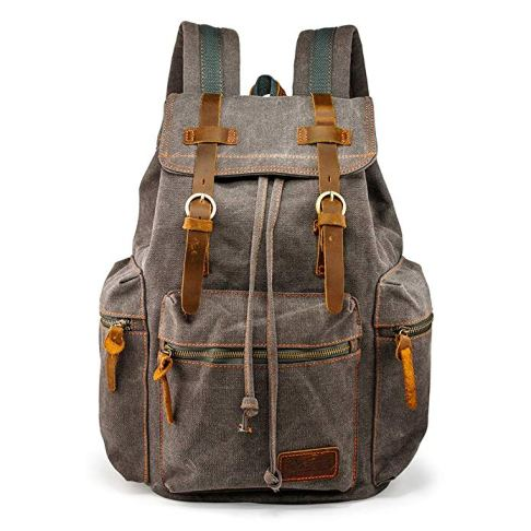 Vintage Canvas Backpack Leather Laptop School Military