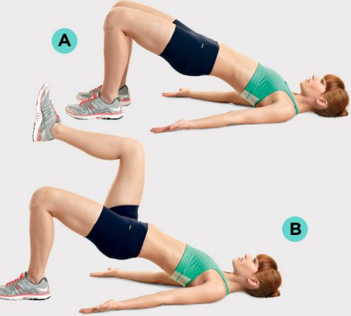 fit woman doing marching glute bridge exercise
