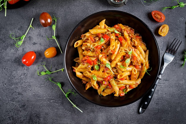 gluten free baked penne pasta with mixed vegetables