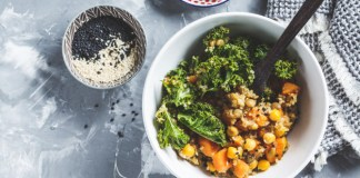 Kale-and-Chickpea Grain Bowl with Avocado Dressing