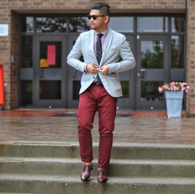 Burgundy Shoes with Beige Chinos man walking stairs
