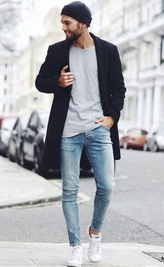 men coat skinny jeans party outfit cool