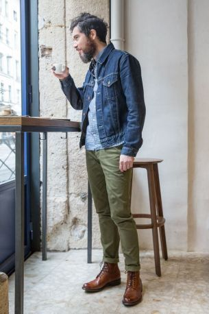 denim jacket with chinos outfit men