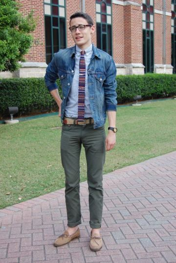 denim jacket with shirt and tie outfit for men