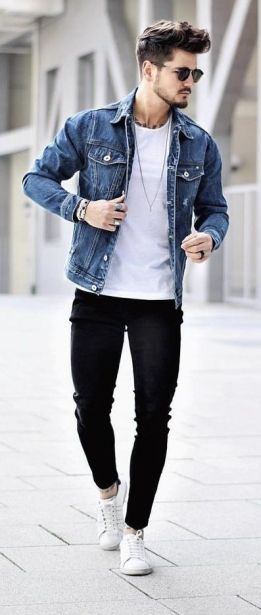 mens denim jacket style with white tee