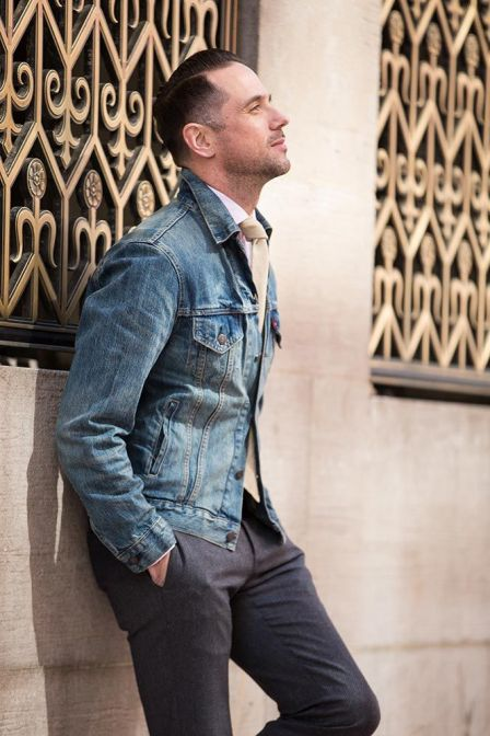 tailored trousers with denim jacket outfit style men