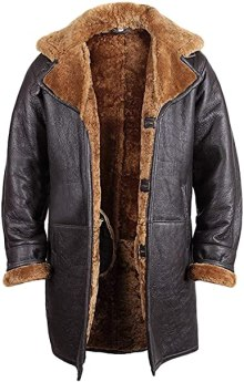 Brandslock Mens Real Shearling Sheepskin Leather Warm Duffle Trench Coat